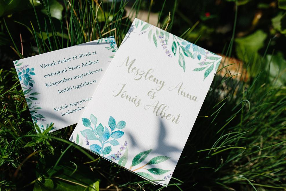 mediterrán hangulatú esküvői meghívó szett