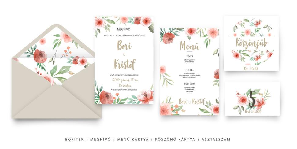 rózsás akvarell esküvői szett