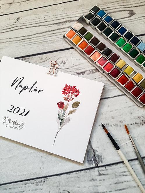 2021-es naptár akvarell növényekkel