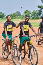 Happy students on their new bamboo bicycles!