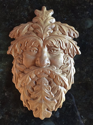 Greenman Three 3D Relief Wood Carving