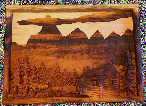 Custom Mountain Scene Wall Carving
