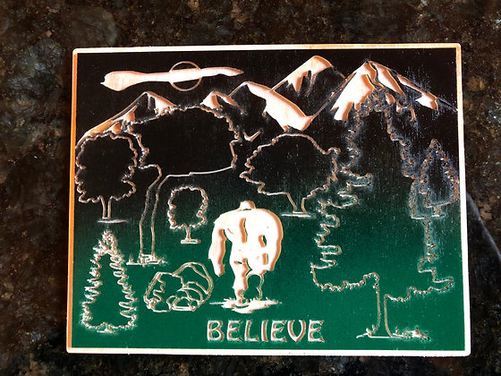 Bigfoot Wood Engraved Scene with Stand