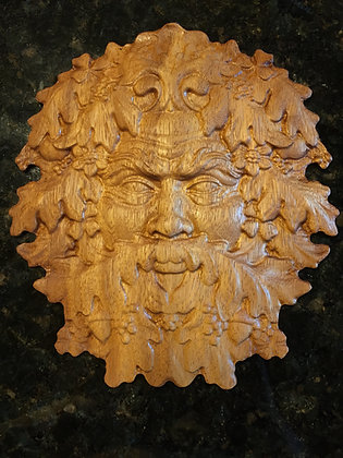 Greenman Two 3D Relief Wood Carving