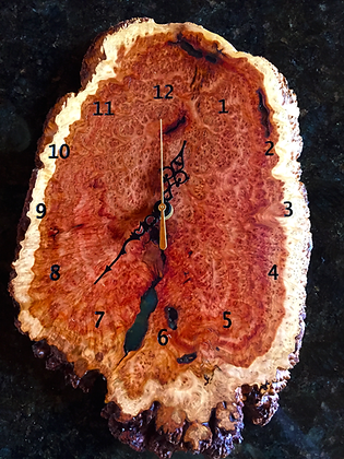 Handmade Wall Clock, Australian Burl Wood