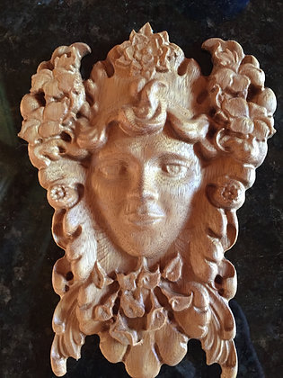 Greenwoman 3D Relief Wood Carving