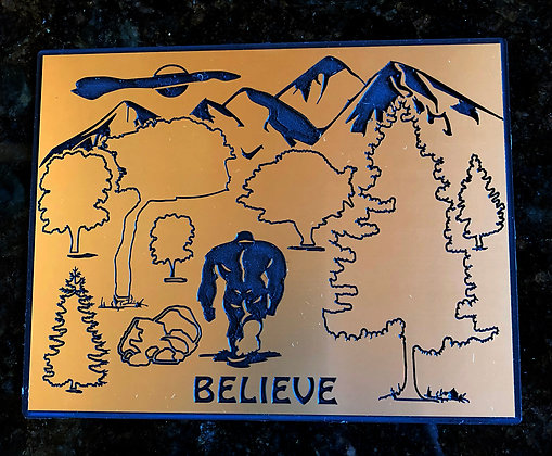 """Bigfoot Fun Plaque """"Believe"""" with Stand"""