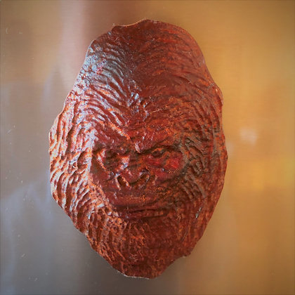 Bigfoot 2 Face Carved African Padauk Wood Kitchen Magnet