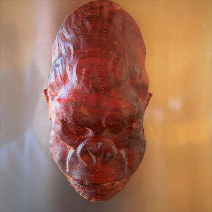 Bigfoot 3 Face Carved African Padauk Wood Kitchen Magnet
