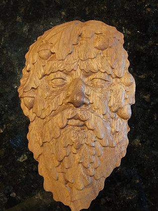 Greenman One 3D Relief Wood Carving