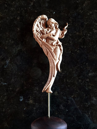 """9"""" Carved Hard Wood Angel with Baby on Stand"""