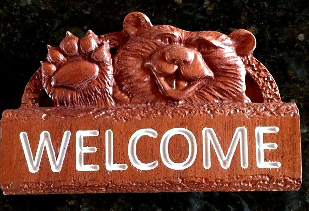 Welcome Bear Sign in Exotic Wood