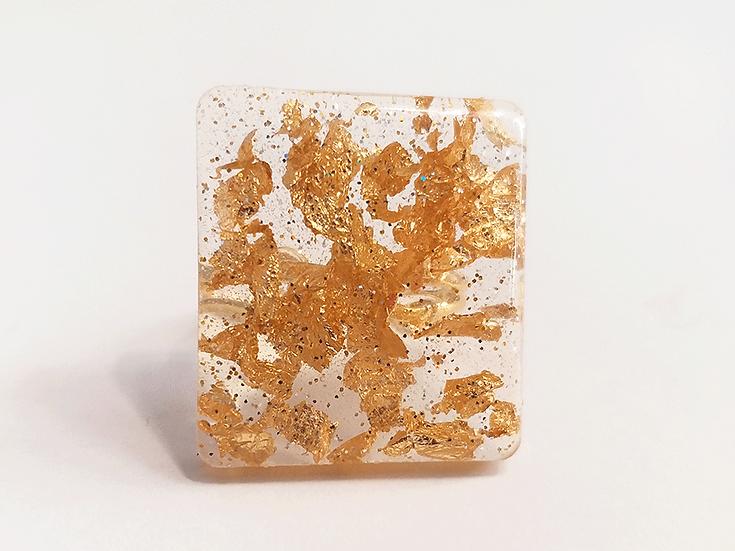 Bague carrée Or Paillettes 2,4 x 2,8 cm