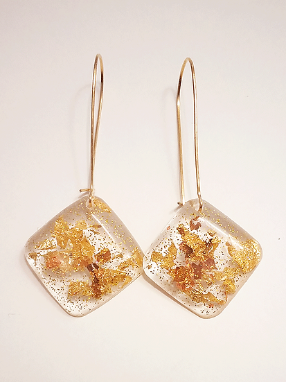 Boucles d'oreilles losange Or  Bronze Paillettes