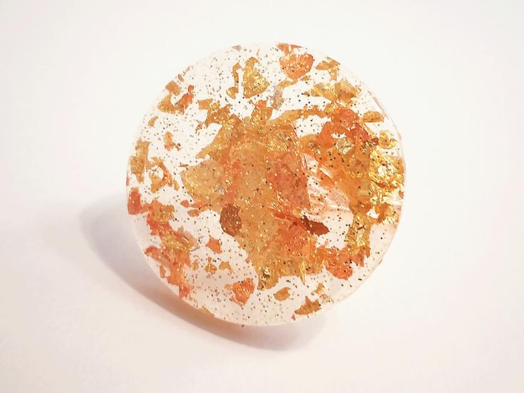 Bague ronde plate Or Cuivre Paillettes  2,5 cm