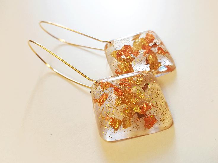 Boucles d'oreilles losange Or  Cuivre Bronze Paillettes