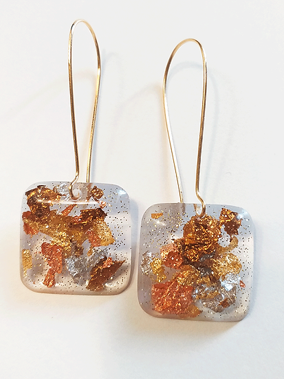 Boucles d'oreilles carrées Or Cuivre Bronze Argent Paillettes