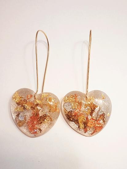 Boucles d'oreilles coeur Or  Cuivre Bronze Argent Paillettes
