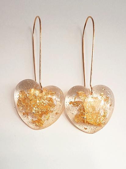 Boucles d'oreilles coeur Or  Paillettes