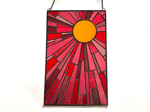 Stained Glass Sun, Orange and Pink