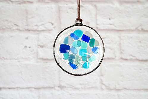 Blue Mosaic Circle Suncatcher, Small