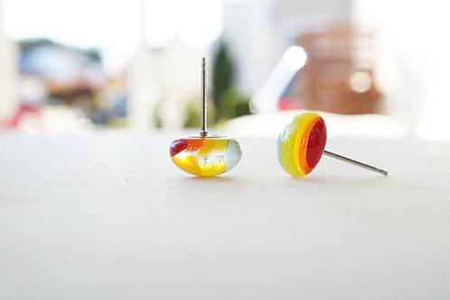 Glass Stud Earrings, Rainbow