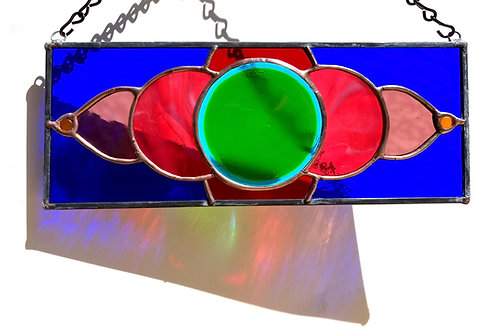 Colorful Stained Glass Panel with Fused Glass Center