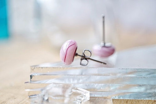 Pink Studs, Fused Glass