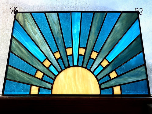 Stained Glass Sunrise, Blue