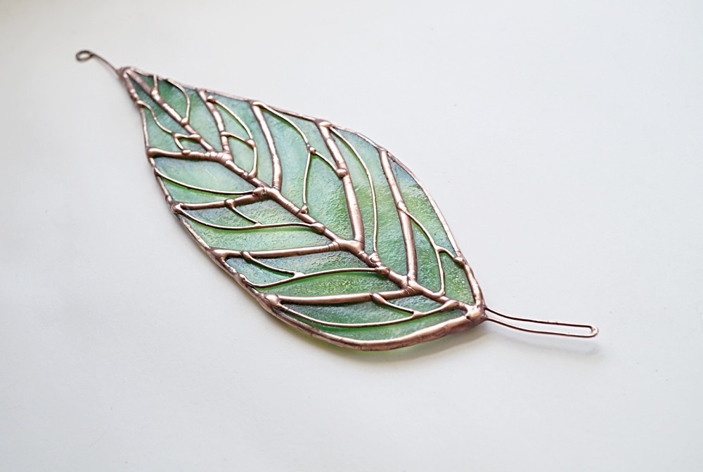Stained glass leaf, by Laura Koss