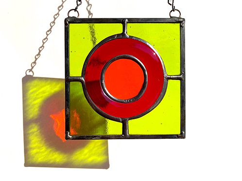 Stained Glass Suncatcher - Lime Green, Red, and Orange