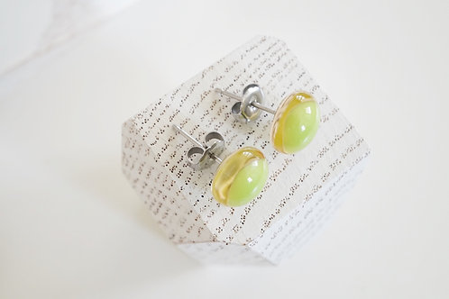 Glass Earrings, Peach and Lime Green