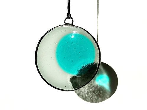 Gray and Aqua Circle Suncatcher