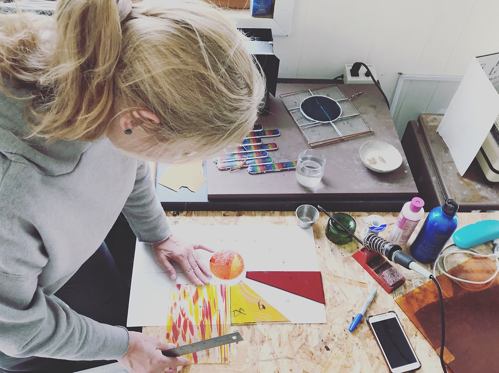 Stained glass lesson at Garden State Glasswork
