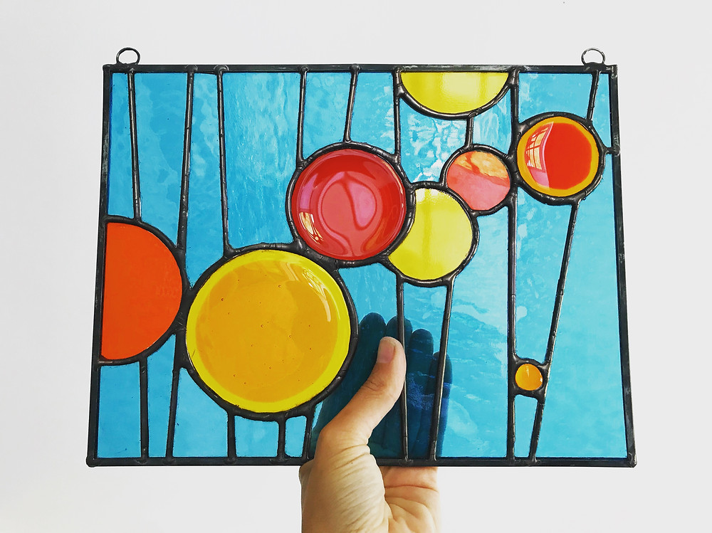 Fused glass and stained glass panel by Laura Koss
