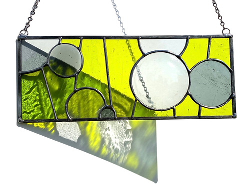 Stained Glass Panel with Fused Glass Circles, Gray and Chartreuse