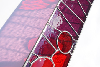 Fused Glass Circles, Red and Purple