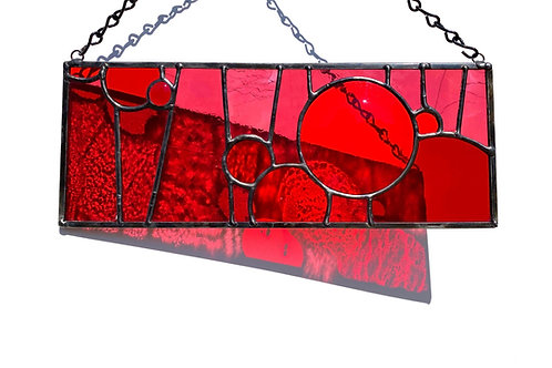 Stained Glass Panel with Fused Glass Circles, Red and Purple