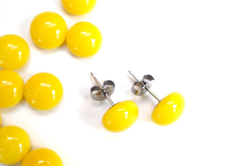 Yellow Studs, Fused Glass