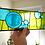 Thumbnail: Stained Glass Panel with Fused Glass Circles, Blue and Green