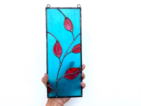 Stained glass leaf panel