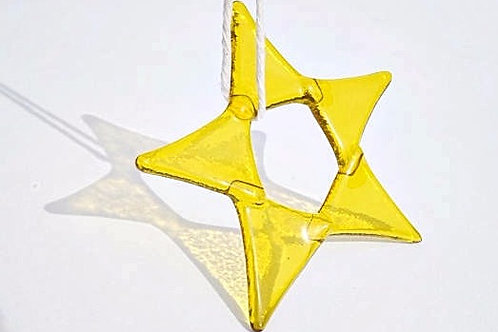 Fused Glass Star, Yellow