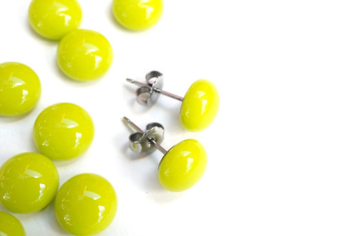 Lime Green Studs, Fused Glass