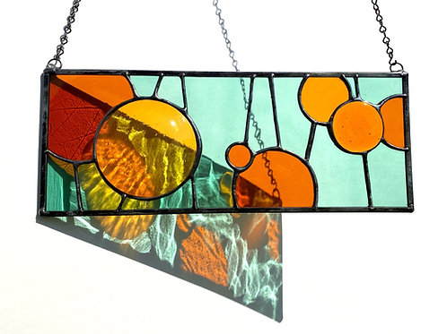 Stained Glass Panel with Fused Glass Circles, Sea Green and Amber