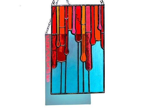 Fused and Stained Glass Panel, Orange and Blue