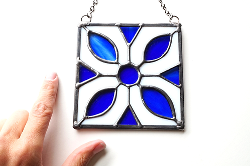 Stained Glass Suncatchers, White and Blue