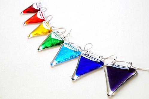 Rainbow Bunting, Fused Glass