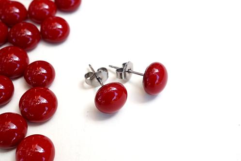 Glass Stud Earrings, Deep Red
