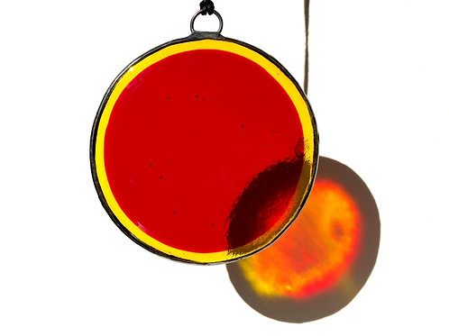 Red and Yellow Circle Suncatcher, Large