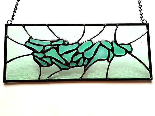 Sea Green Stained Glass/Fused Glass Panel